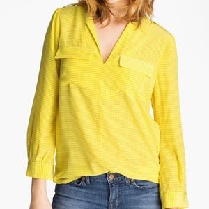 Joie   Marlo Yellow Silk Print Spilt Neck Blouse